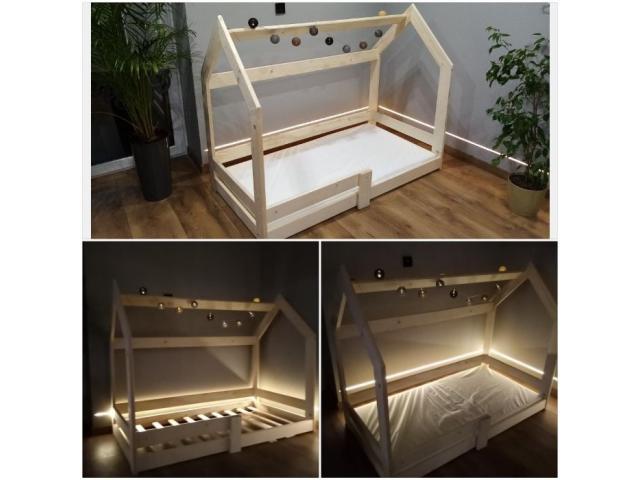 Łóżko 90x200 drewniane z materacem pojedyncze Od ręki 90/120/140x200