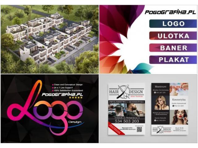Usługi graficzne, projekt logo, ulotki, wizytówki, baner, wizualizacje, fotomanipulacje